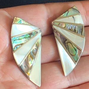 Modernist Sterling & Abalone Large Stud Earrings